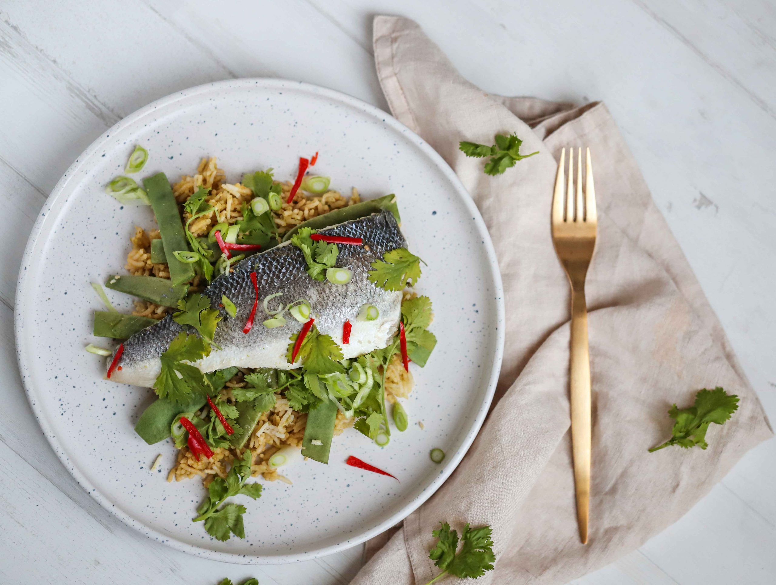 One Pot Sea Bass with Thai Rice