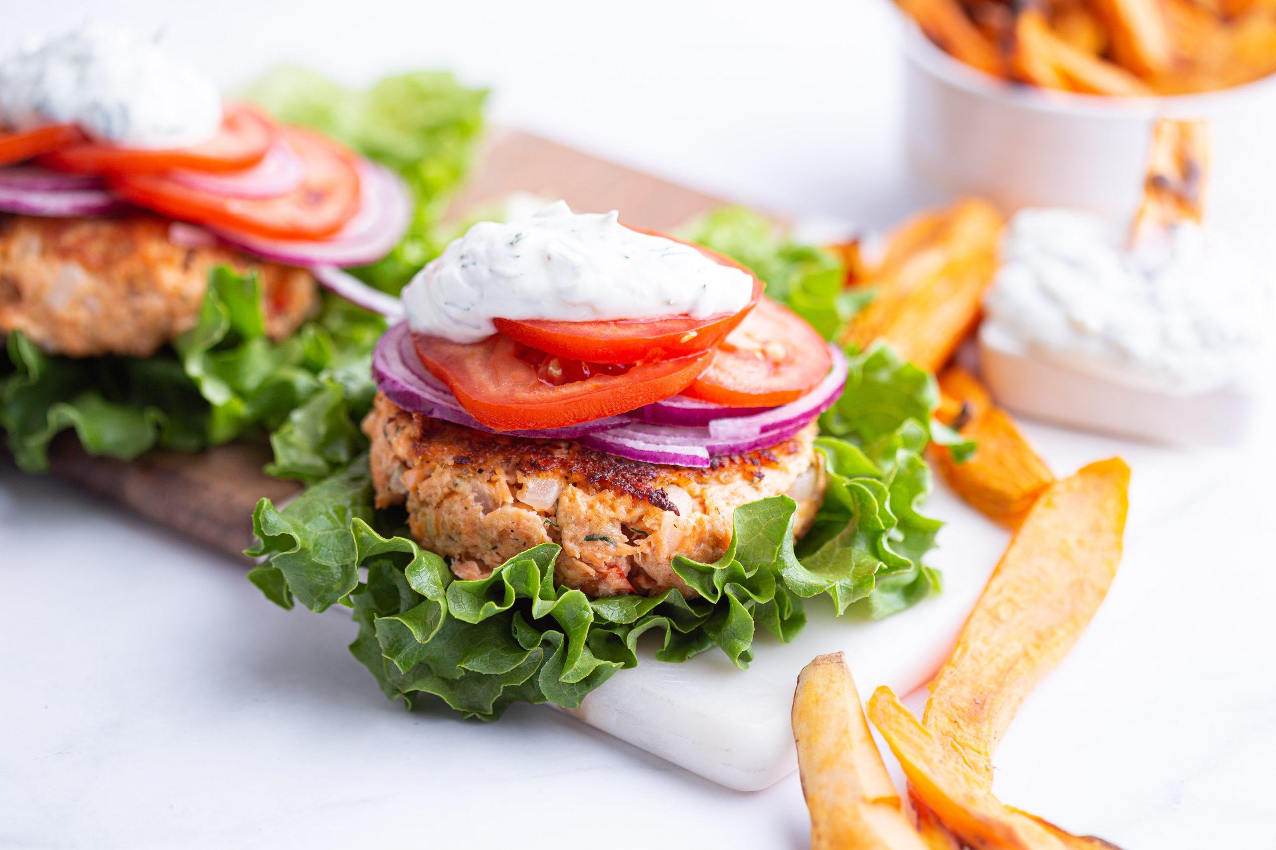 Salmon Burgers with Sweet Potato Fries